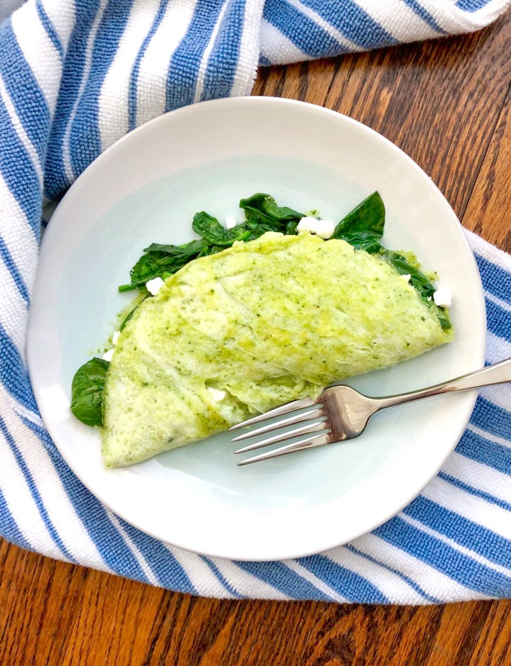 The Perfect Spinach Pesto Omelet