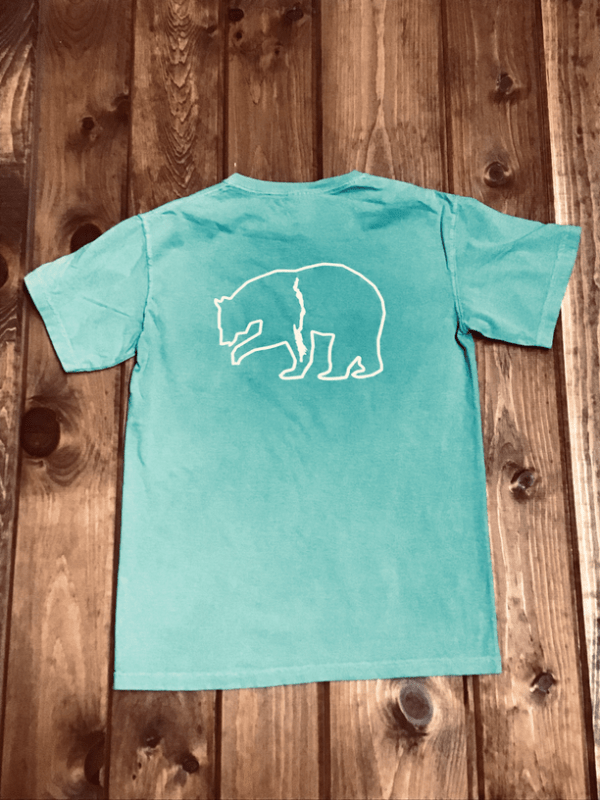 Bear with Lake George Pocket Tee sea foam back
