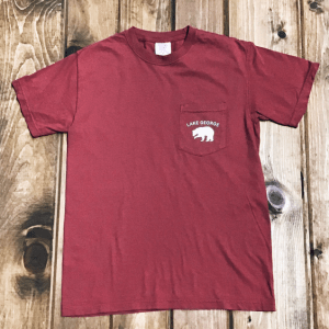 Bear with Lake George Pocket Tee Chili front