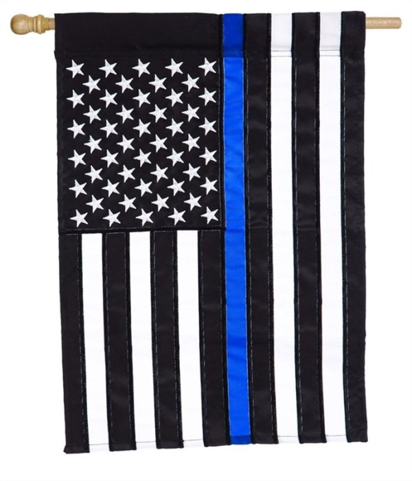 Thin Blue Line House Applique Flag
