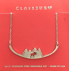 moose in trees necklace