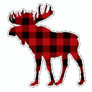 Checkered moose decal