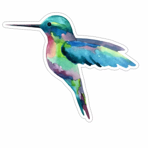 Watercolor Hummingbird decal