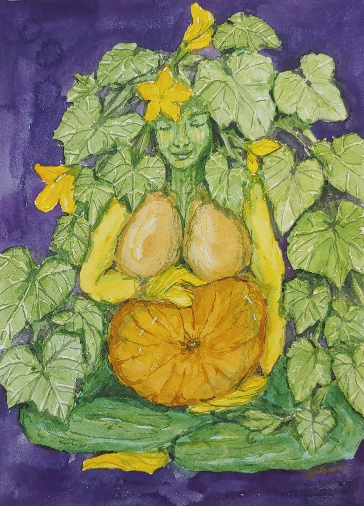 gourd goddess - watercolor