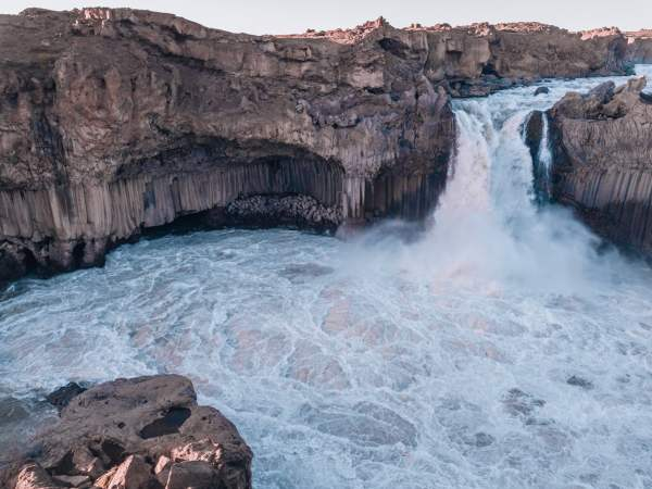 Aldeyjarfoss and the pool at its base from from the top. Check out our perfect 6 day itinerary for Ring Road in Iceland!