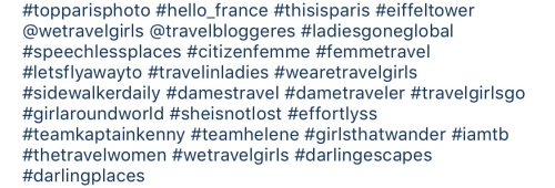 Examples of hashtags to use for female travel accounts. See more tips to grow your Instagram on the full post!