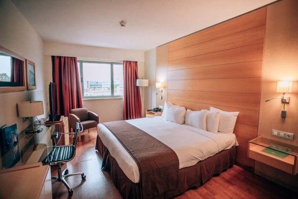 Our room at Barcelona Airport Hotel. This hotel is conveniently located 5 minutes from the airport but not too far out of town either. See the perfect itinerary for 3 days in Barcelona!