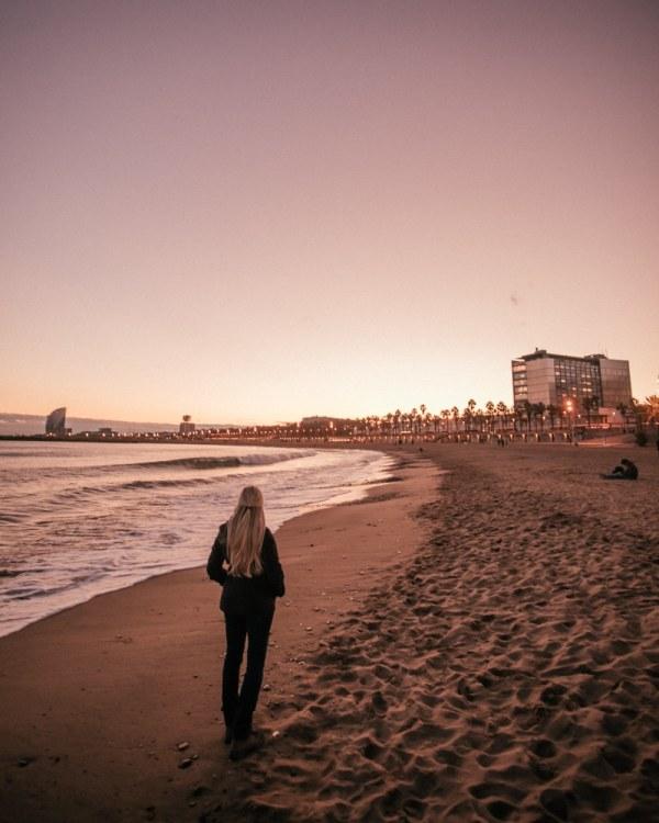 海滩上的海滩上有一只想让海滩上的日落。在马德里的旅途中,这一天的一天就能找到这件事了!