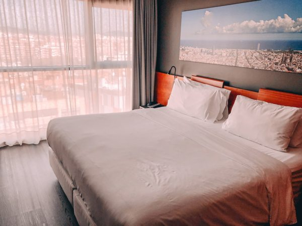 Our room at Four Points Barcelona Diagonal overlooked the city and had a view of Sagrada Familia. Find our full Barcelona 3 day itinerary here.