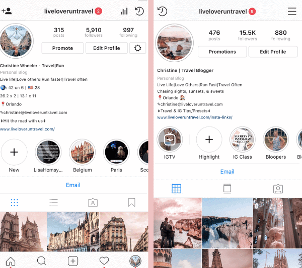 My feed around the time I signed up for an Instagram class and a year later. Find out if Instagram classes are worth the money and how to find the right one.