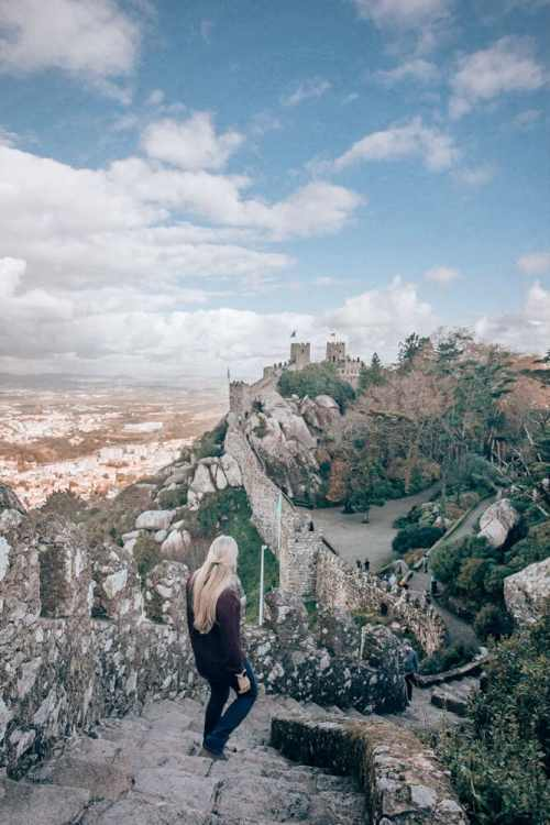 Walking down from the towers at the Moorish Castle in Sintra