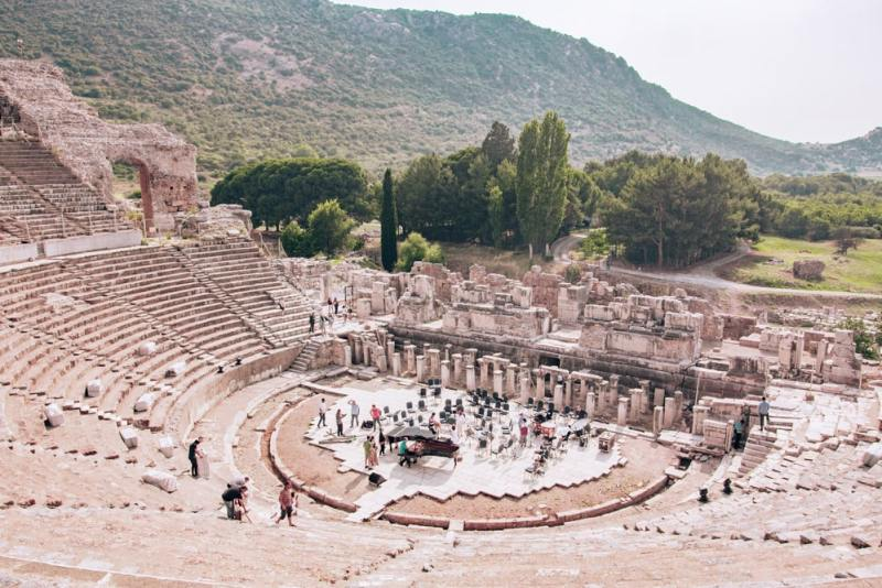 The Grand Theater in Ephesus seats 24,000 people. Concerts are still performed there. Find a full one day itinerary with everything you need to know about visiting the ancient ruins of Ephesus in Turkey here.