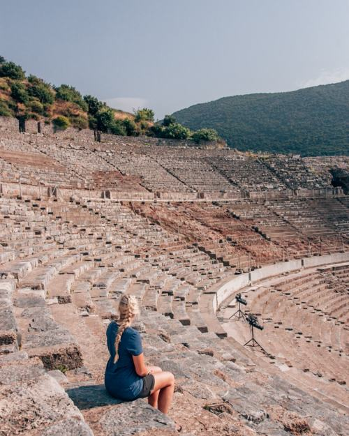 The Grand Theater in Ephesus where Paul's letter to the Ephesians was read. Find a full one day itinerary with everything you need to know about visiting the ancient ruins of Ephesus in Turkey here.