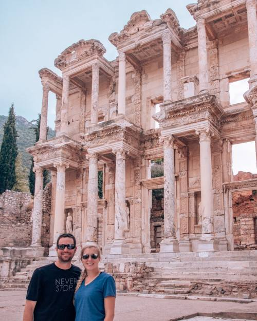The Library of Celsus is the highlight of the ruins in Ephesus. Tripods are not allowed here, so be prepared to use rocks or ask other people to take your picture. Find a full one day itinerary with everything you need to know about visiting the ancient ruins of Ephesus in Turkey here.