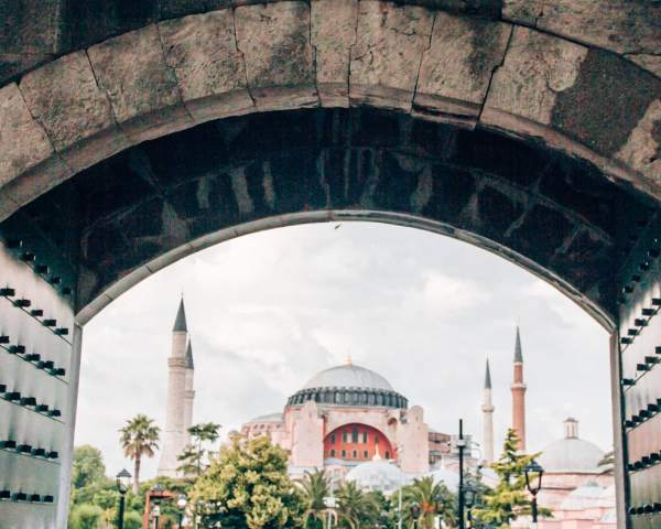 The view of the Hagia Sophia from inside the Blue Mosque in Istanbul.
