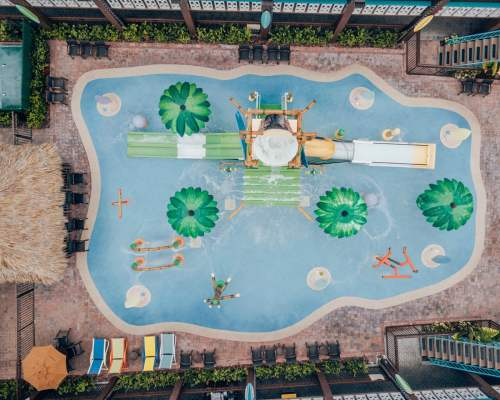 The splash pad at Wakulla Falls Water Park in Westgate Cocoa Beach Resort. Find a full review of the best Cocoa Beach resort here.