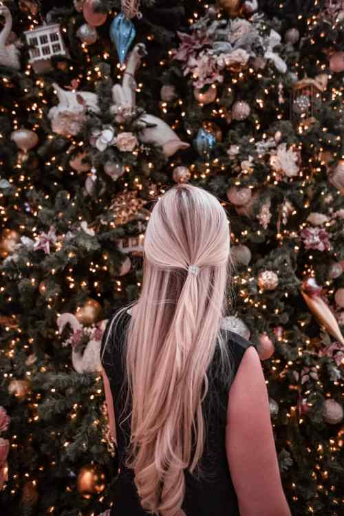 Looking at the Christmas tree in the Grand Floridian lobby. Get a full list of the best Christmas things to do in Orlando here.