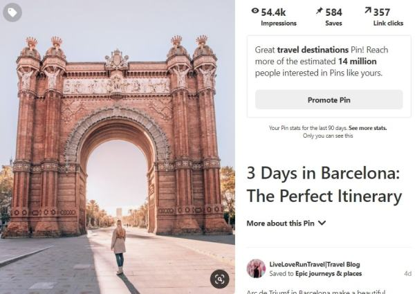 Pin images from blog posts too as they sometimes bring in the most clicks and get the most saves on Pinterest. Find more Pinterest tips to grow your blog here.
