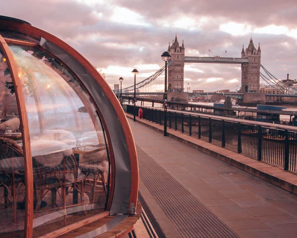Coppa Club Tower Bridge in London at sunrise