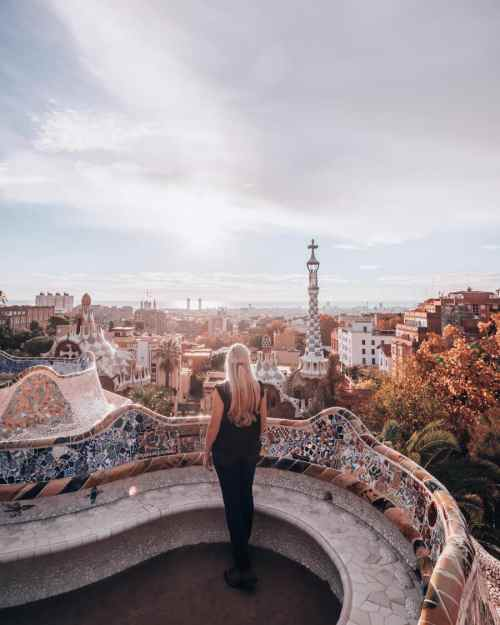 Sunrise at Park Guell in the Greek Theater looking out over Barcelona