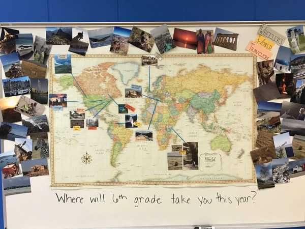 My travel pictures and classroom map for sixth grade Language Arts
