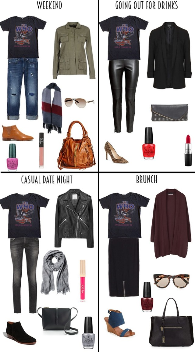 One band T-shirt 4 Ways #1x4 #bandT #whattowear
