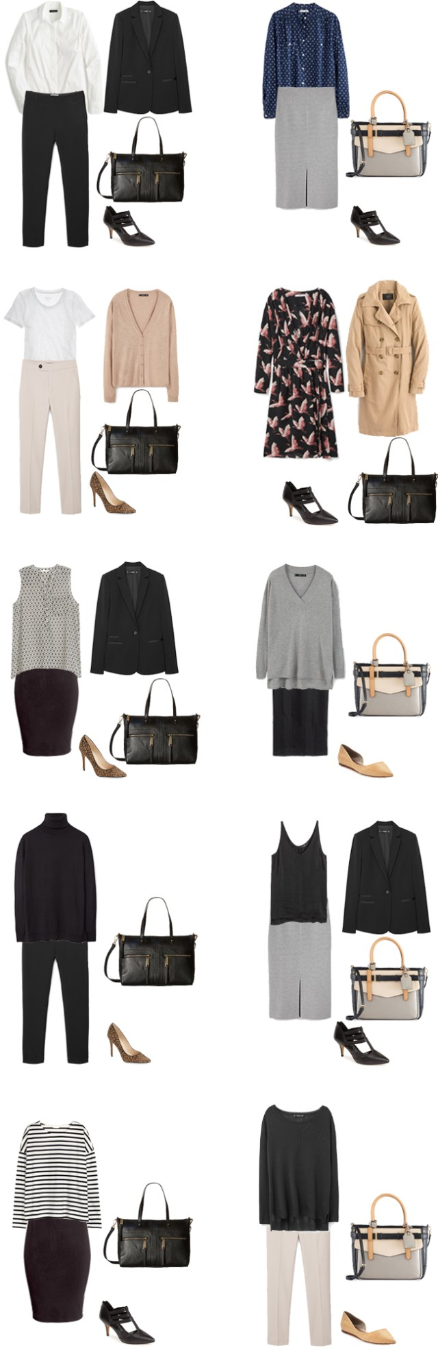 Basic Work Capsule Outfits 1-10 #capsulewardrobe #workwardrobe #workwear #capsule