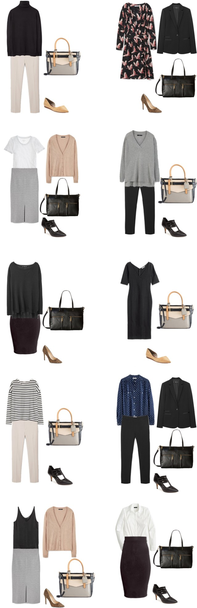 Basic Work Capsule Outfits 11-20 #capsulewardrobe #workwardrobe #workwear #capsule