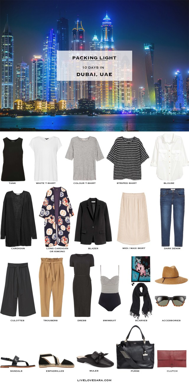 What to Pack for Dubai UAE Packing Light List #packinglist #packinglight #travellight #travel #livelovesara