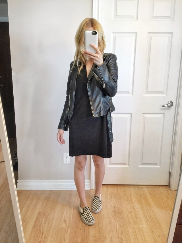 Black dress and leather jacket with classic vans