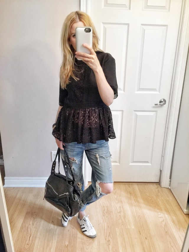 black, lace shirts, distressed jeans, Adidas