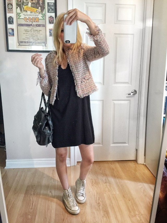 T-shirt dress, tweed jacket, converse