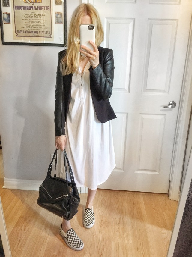 White dress and black blazer, with Classic Vans
