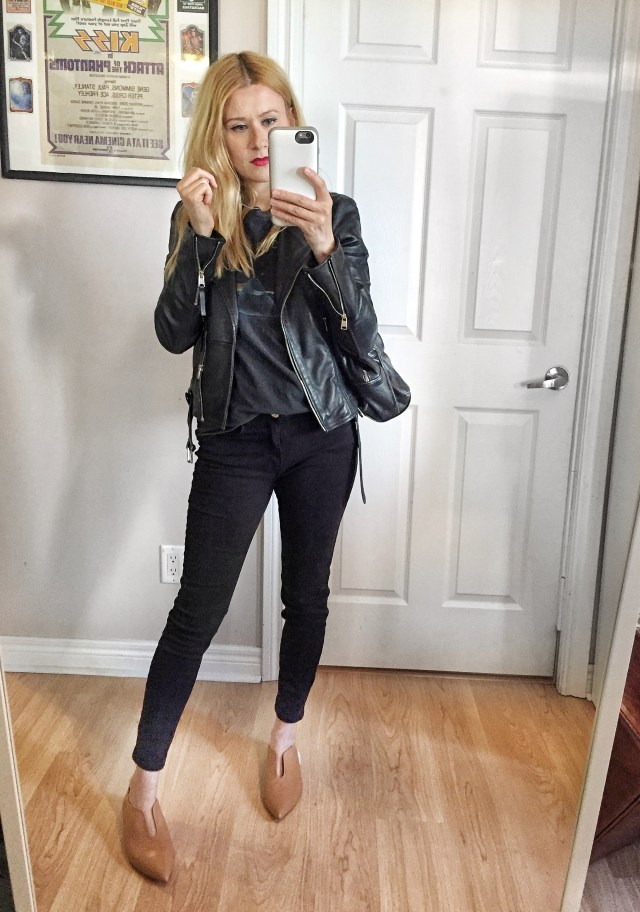 Leather jacket, Band tee, black pants, fun flats