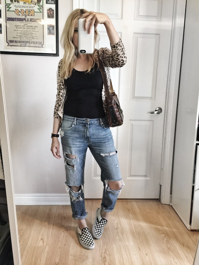 Leopard cardigan, and distressed jeans