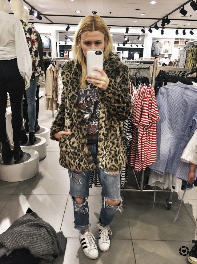 H&M Faux fur jacket. It's on my want list.