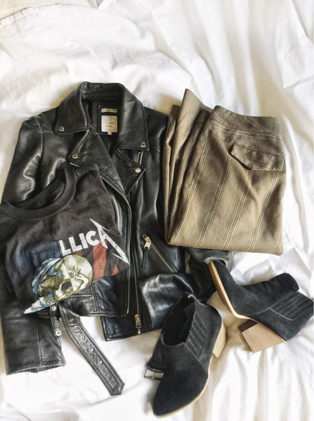 Metallica t-shirt, leather jacket, and culottes