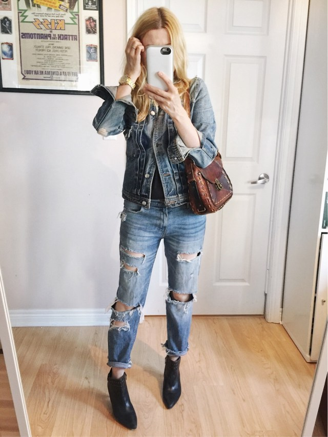 denim on denim. Denim jacket, distressed jeans, booties