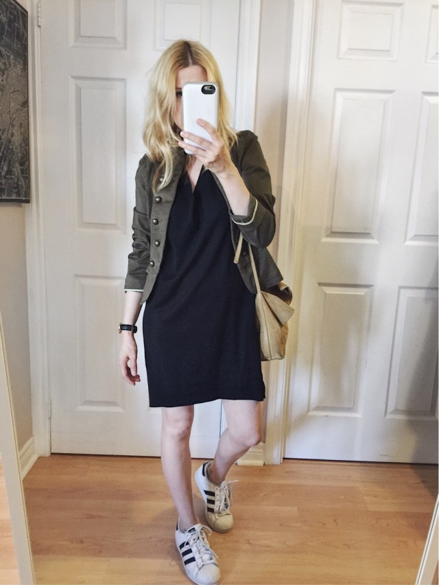 T-shirt dress, band jacket, and Adidas