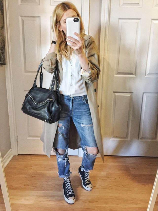 white blouse, trench, boyfriend jeans, and converse