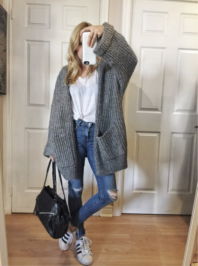 Oversized cardigan, white t-shirt, and Adidas