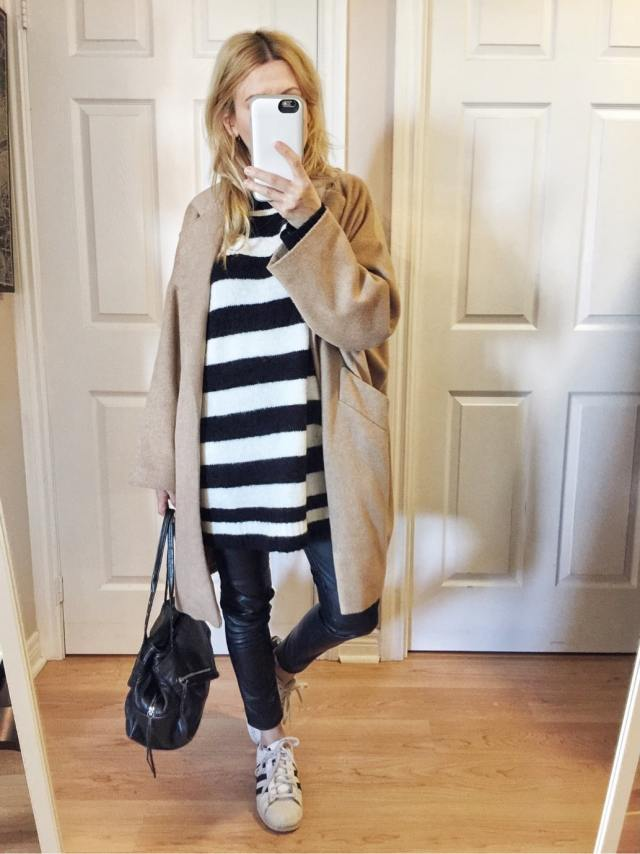 oversized striped sweater, camel coat, leather leggings, Adidas