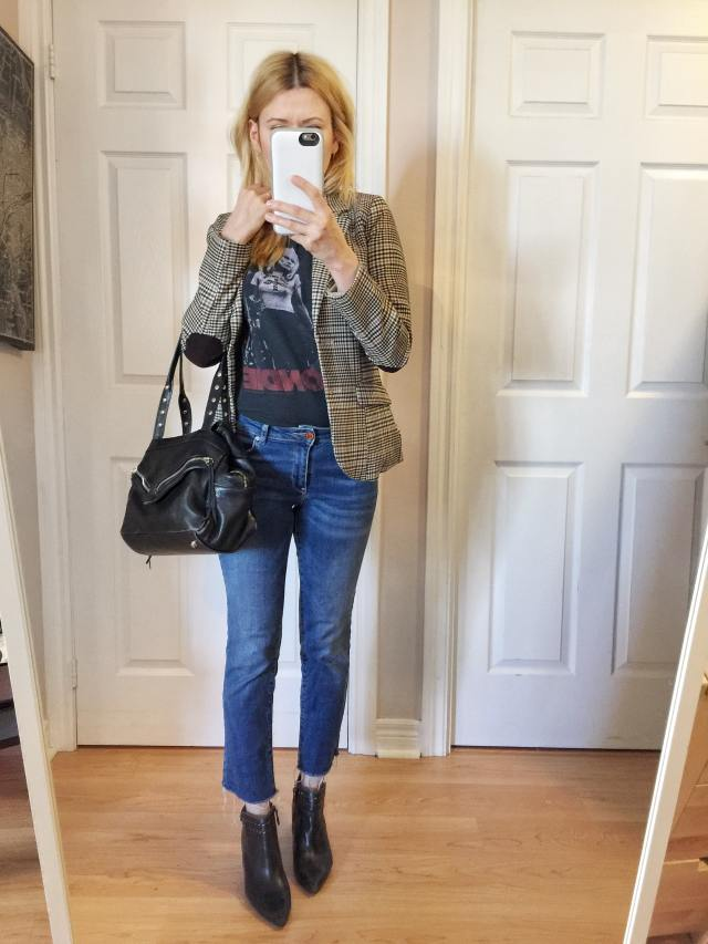 Checkered blazer, band t-shirt, cropped jeans, booties