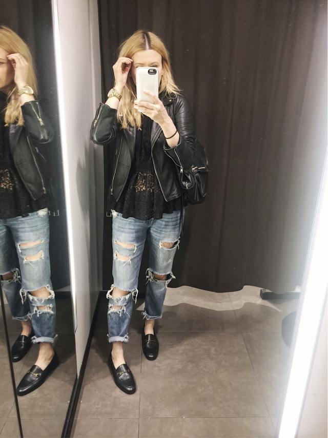 Zara Dressing room selfie. Lace peplum top, boyfriend jeans, leather jacket, Gucci dupes