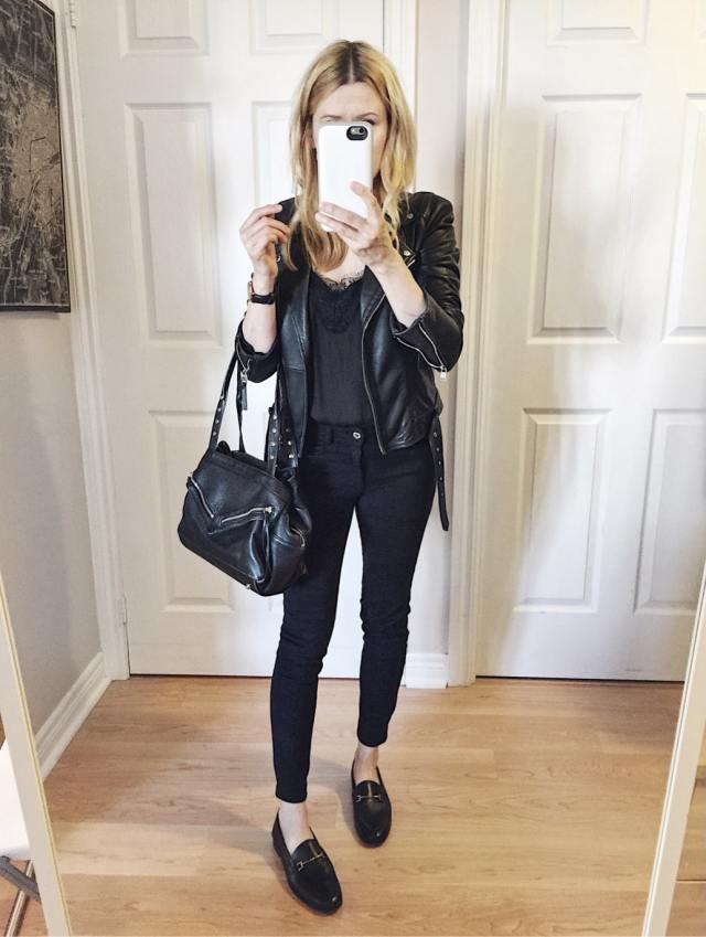 Leather jacket, camisole, black pants, loafers