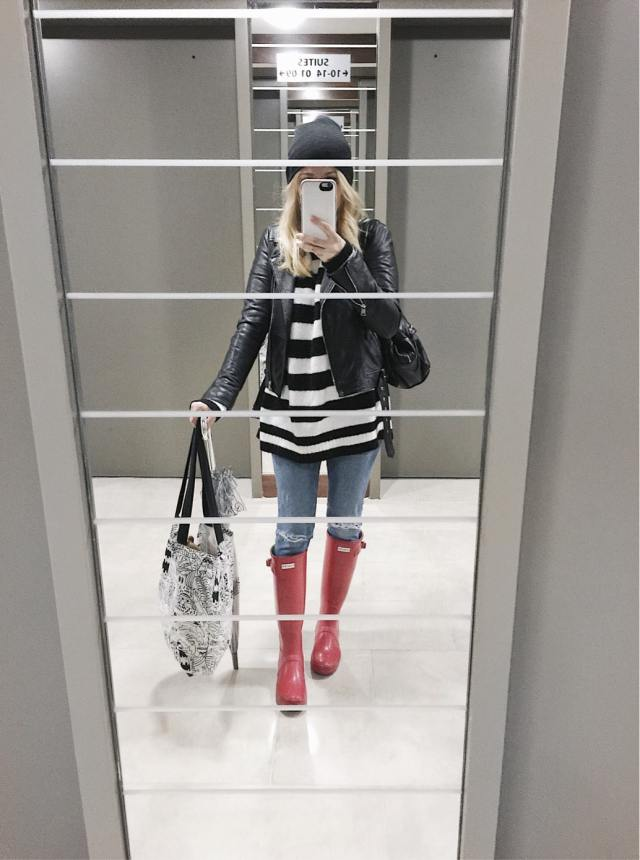 Striped sweater, moto jacket, skinny jeans, red hunter boots, Lulu Guinness umbrella