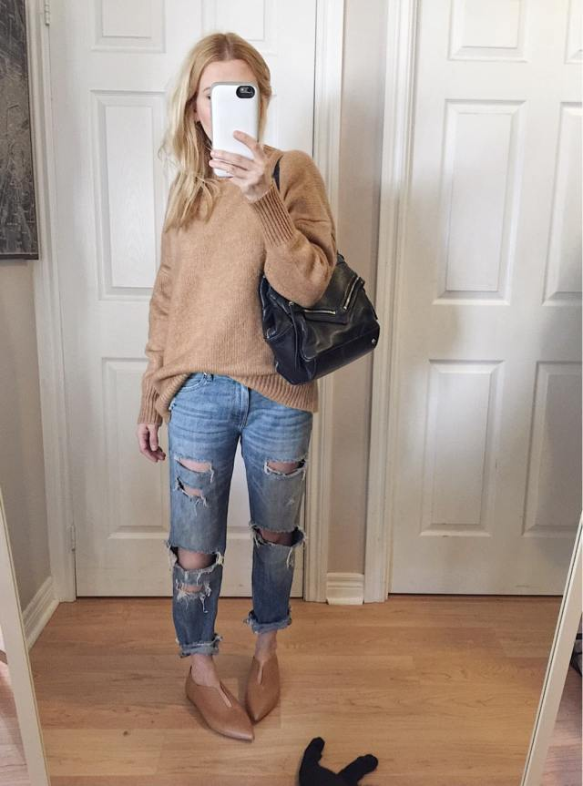 Oversized Camel sweater, boyfriend jeans, Zara shoes