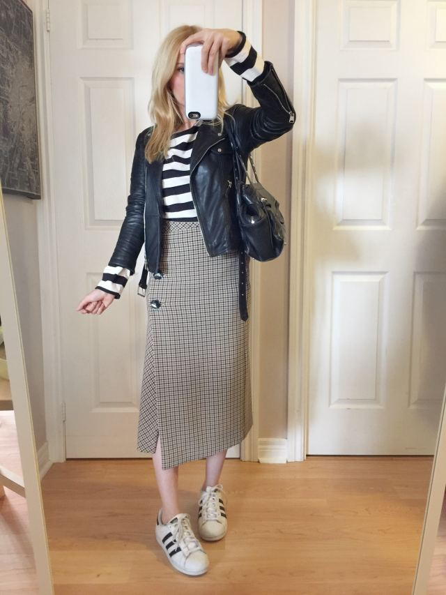 check wrap skirt, striped shirt, leather jacket, and Adidas