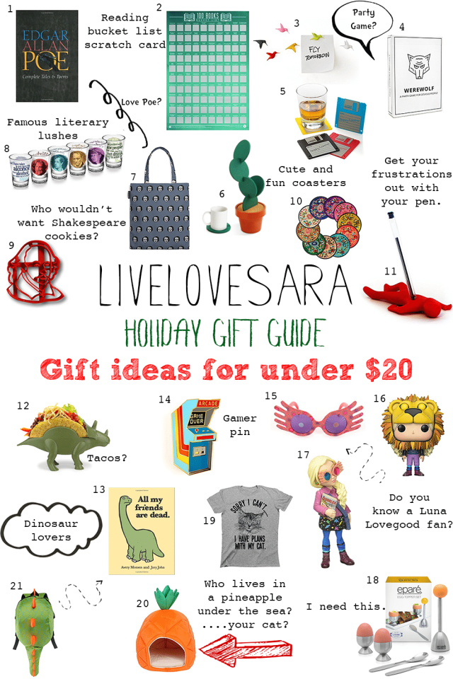 Holiday Gift Guide gifts for under $20 #giftguide #holiday2017 #holidaygiftguide #christmasgiftguide #christmas2017
