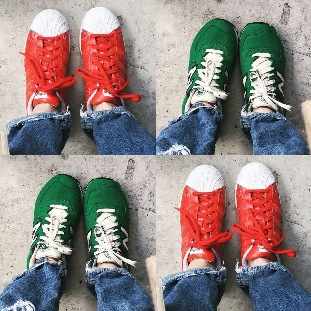red Adidas and green New balance 574